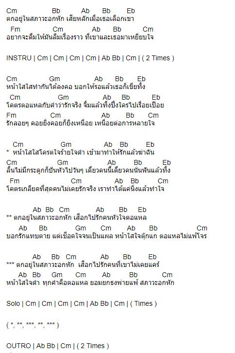 คอร์ดเพลง ภาวะอกหัก - เพชร สหรัตน์ Feat. ออย แสงศิลป์