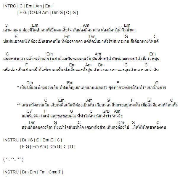 คอร์ดเพลง เศษหนึ่งส่วนเกิน - เพชร สหรัตน์ Feat. กวาง จิรพรรณ