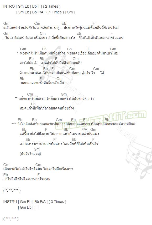 คอร์ดเพลง ไว้อาลัยแฟนเก่า - วงโซแมน TMG