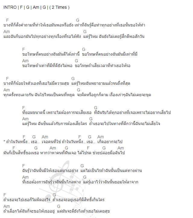คอร์ดเพลง ถ้าในวันหนึ่ง - Rapper Tery Feat. เต้ย ณัฐพงษ์